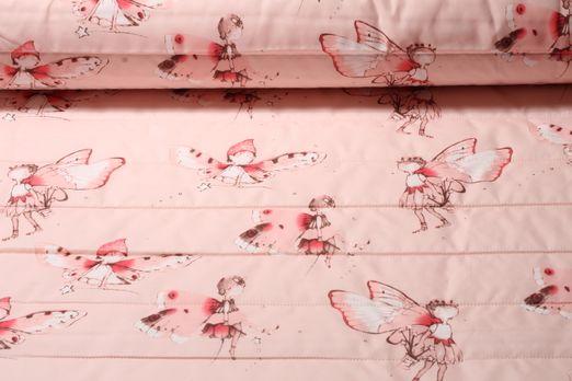 Gesteppter Jackenstoff - Nylon Printed Elfen Zartrose Multicolor