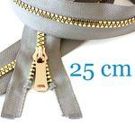 Gold metallisierter Jacken Reißverschluss teilbar 25 cm 001