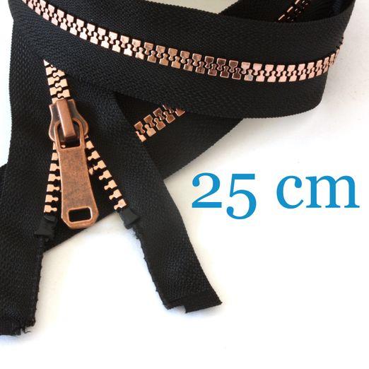 Kupfer metallisierter Jacken Reißverschluss teilbar 25 cm