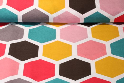 Canvas gemustert - Hexagon Multicolor