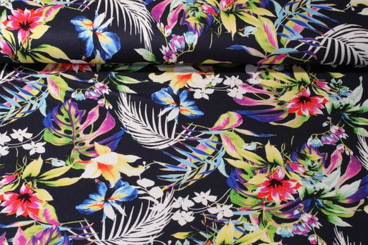 Viskosejersey - Exotic Flowers Marine Multicolor