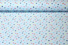Jersey gemustert  - Colourful Dots Hellblau Multicolor