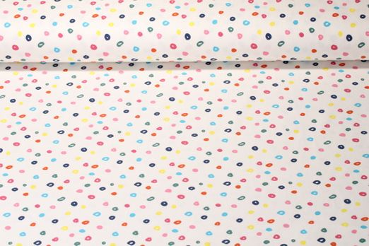 Jersey gemustert  - Colourful Dots Off Weiß Multicolor