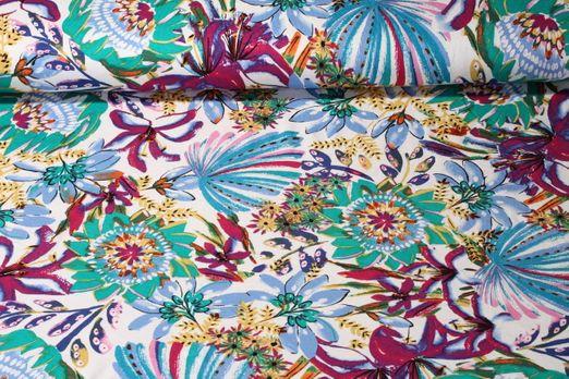 Viskosejersey - Blumenwelten Ecru Grün Multicolor