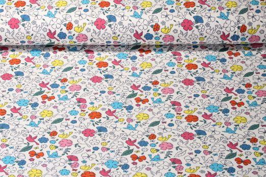 Jersey gemustert  - Frühlings Vögel Weiß Multicolor