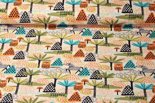 Jersey gemustert - Safari Vanille Multicolor