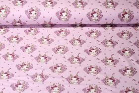Jersey gemustert - Hasenliebe Rosa Multicolor