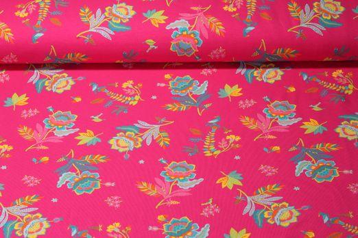 Jersey gemustert - Phantasieblumen Pink Multicolor