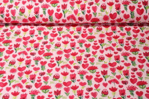 Sommersweat gemustert  - Lovely Flowers Rosa Melange Multicolor