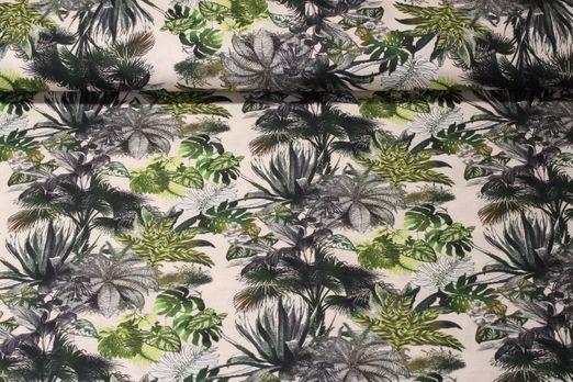 Baumwolle gemustert - Tropic Blätter Beige Multicolor