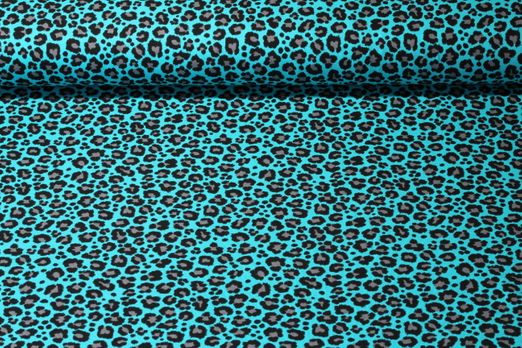 Jersey gemustert - Großes Leomuster Blau
