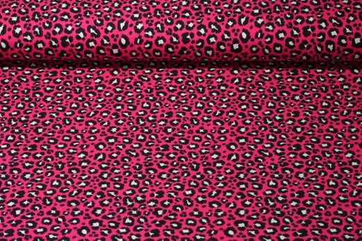 Jersey gemustert - Großes Leomuster Pink