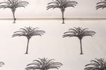 Canvas gemustert - Palmen Off White Schwarz 001