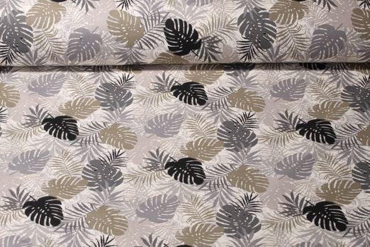 Baumwolle gemustert - Philo Blätter Beige Grau Multicolor