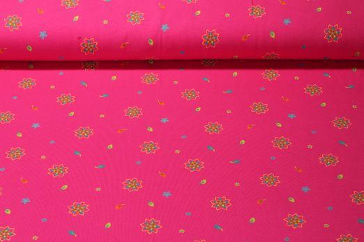 Jersey gemustert - Kleine Mandalablumen Pink Multicolor