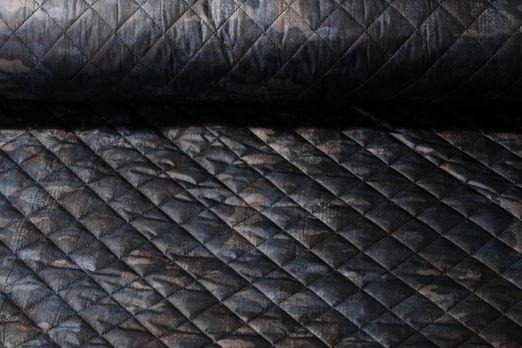 Gesteppter Jackenstoff - Camouflage Schwarz Navy