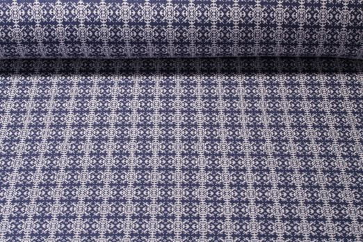 Jacquard Sweat - Recycled Knit Jacquard Ornamente Blau Weiss