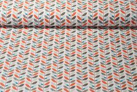 Baumwolle gemustert - Blätterranken Orange Multicolor