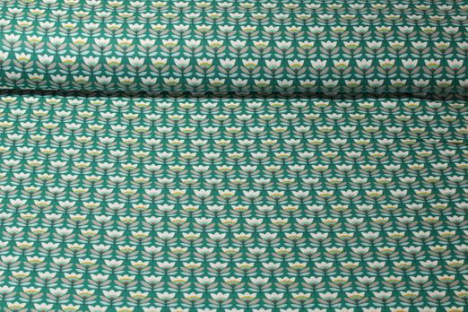 Baumwolle gemustert - Tulpen Petrol Multicolor