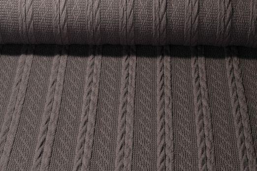 Stricksweat - Wollstoff Zopfmuster Uni Grau