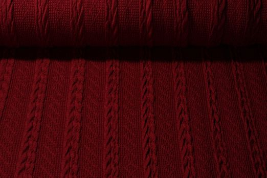Stricksweat - Wollstoff Zopfmuster Uni Bordeaux