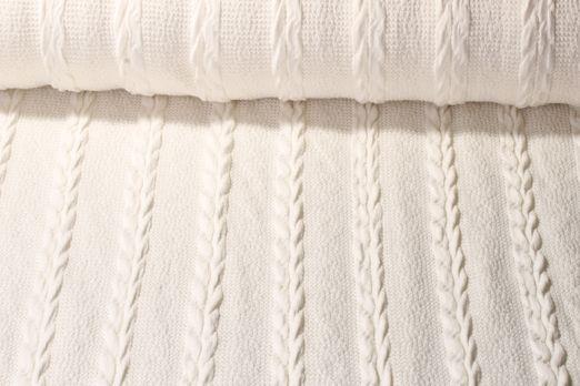 Stricksweat - Wollstoff Zopfmuster Uni Off White