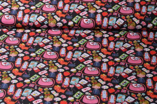 Baumwolle gemustert - Girls Stuff Schwarz Multicolor