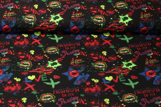 Jersey gemustert - Digitalprint Neon Graffiti Multicolor