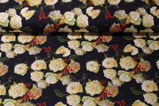 Jersey gemustert - Digitalprint Weiße Rosen Multicolor