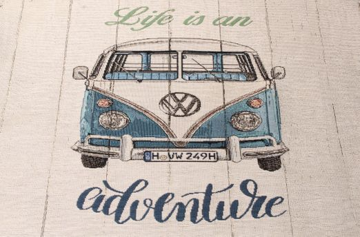 "Canvas Panel - VW Bulli ""Life is an adventure""  Beige Multicolor"