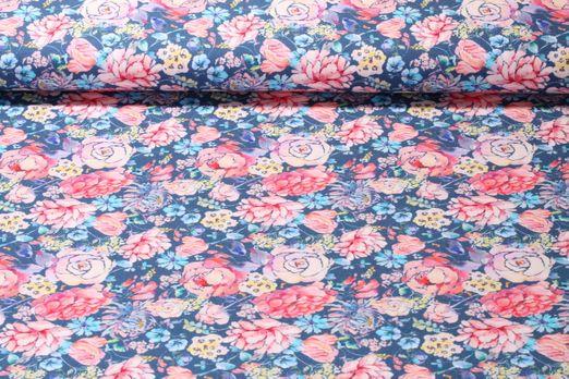 Jersey gemustert - Blumenstrauß Blau Multicolor
