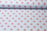 Jersey gemustert - Blütenreihen Hellblau Multicolor 001