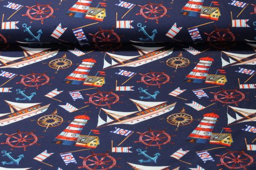 Jersey gemustert - Boats Digital Print Navy Multicolor