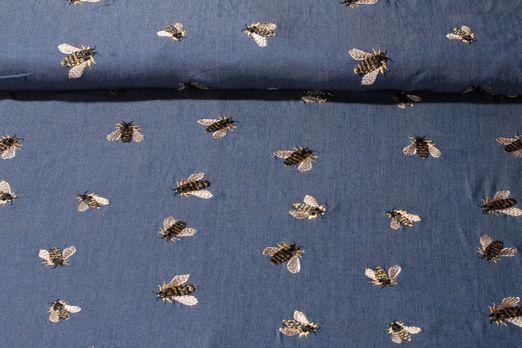Viskose gemustert - Bestickt Bienen Blau Multicolor