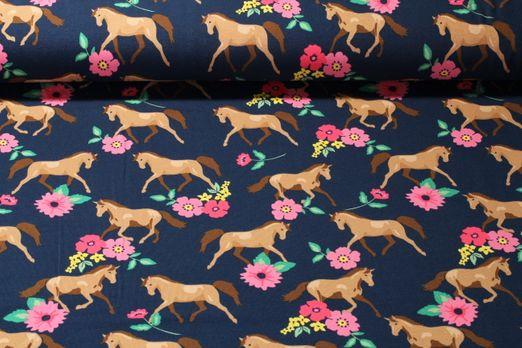 Jersey gemustert - Blumen und Pferde Marine Multicolor