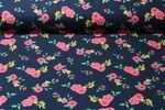 Jersey gemustert - Große Blumen Marine Multicolor 001