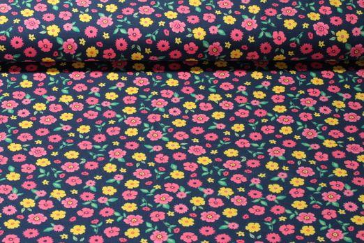 Jersey gemustert - Kleine Blumen Marine Multicolor