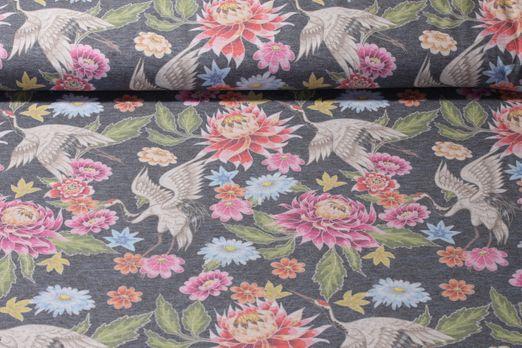 Jersey gemustert - Kraniche Digitalprint Grau Multicolor Melange