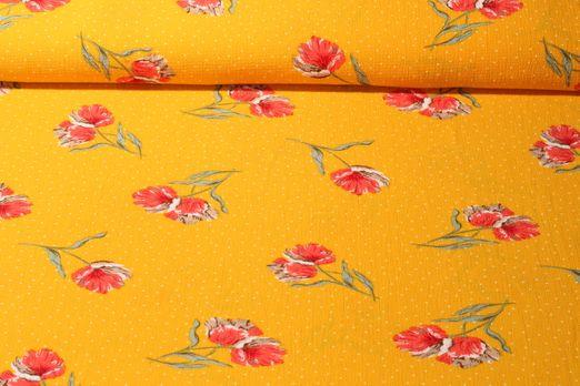Crepe Georgette - Blumen Gelb Multicolor