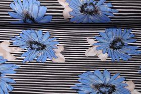 Viskosejersey - Calendula Blau Multicolor