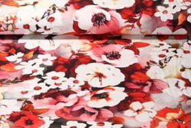 Jersey gemustert - Blumenvielfalt Rot Multicolor