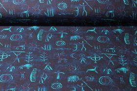 Canvas gemustert - Höhlenmalerei Blau Multicolor