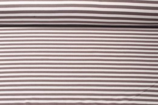 Romanit Jersey - Streifen Taupe Weiß