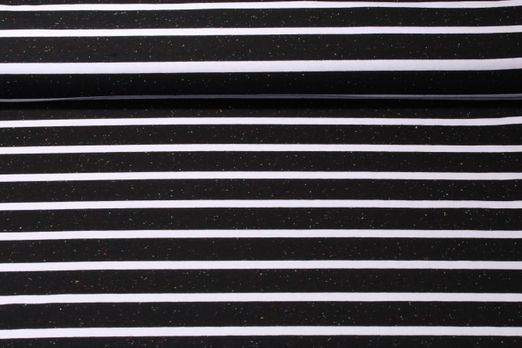 Jersey gestreift - Multicolor Stripes Big Schwarz Weiß
