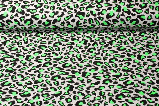Jersey gemustert - Neon Leopard Grün Weiss Schwarz