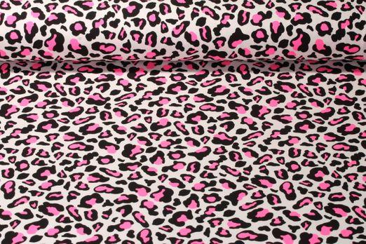 Jersey gemustert - Neon Leopard Pink Weiss Schwarz