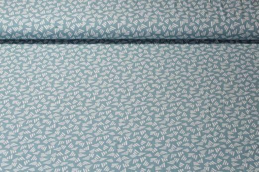Viskose - Abstrakt Dark Mint Weiss