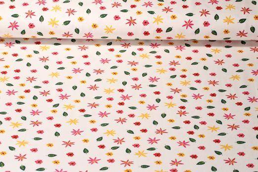 Jersey gemustert - Blüten und Blätter Off White Multicolor