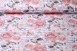 Jersey gemustert - Rosensommer Weiß Flieder Multicolor 001
