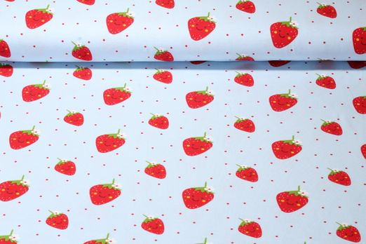 Jersey gemustert - Happy Strawberry hellblau Multicolor